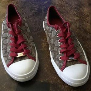 COACH Empire Sneakers  Tan with red trim & laces Women's Size 6B